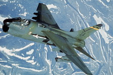 A Vought A-7D Corsair II of the 137th Tactical Fighter Wing during Exercise Amalgam Brave '87, an air defense training exercise. The aircraft is armed with an AIM-9 Sidewinder missile on the fuselage pylon and an ANALQ-131 pod on the wing. (DoD)
