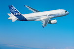 An Airbus A319 in flight. The A319 is a shortened version of the A320. (Copyright Airbus)
