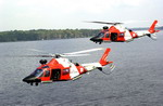 Two US Coast Guard AgustaWestland MH-68 Makos over St John's river, Florida, on 14 October 2001. (USCG/PA3 Dana Warr)