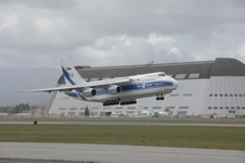 A Volga-Dnepr An-124 takes off from Moffett Federal Airfield, California, USA, on April 22 2007. The contracted An-124 transported cargo of the 129th Rescue Wing, California Air National Guard, to Afghanistan. (US Air Force photo by Master Sergeant Daniel Kacir)