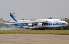 An An-124-100 from Volga-Dnepr lands at Naval Air Station Joint Reserve Base (NAS/JRB), New Orleans, Louisiana, United States, on September 12 2005 to deliver a diesel powered water pump in support of the Hurricane Katrina relief efforts. (US Navy photo by Wade G Mckinnon)