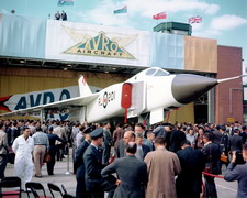 3/4 front right side view of the CF-105 Arrow at its rollout on 4 October 1957 at Avro's Malton, Ontario, plant. (Canadian Department of National Defence)