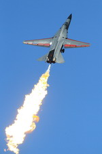 A Royal Australian Air Force F-111 performs a 'dump and burn' demonstration at the Williamtown Air Show on 18 September 2010. (RAAF)