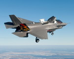 The F-35B in short takeoff/vertical landing mode.