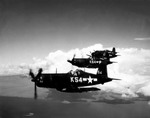 Three Vought F4U Corsairs of Bombing Fighting Squadron 86 (VBF-86) from the USS Wasp in 1945.