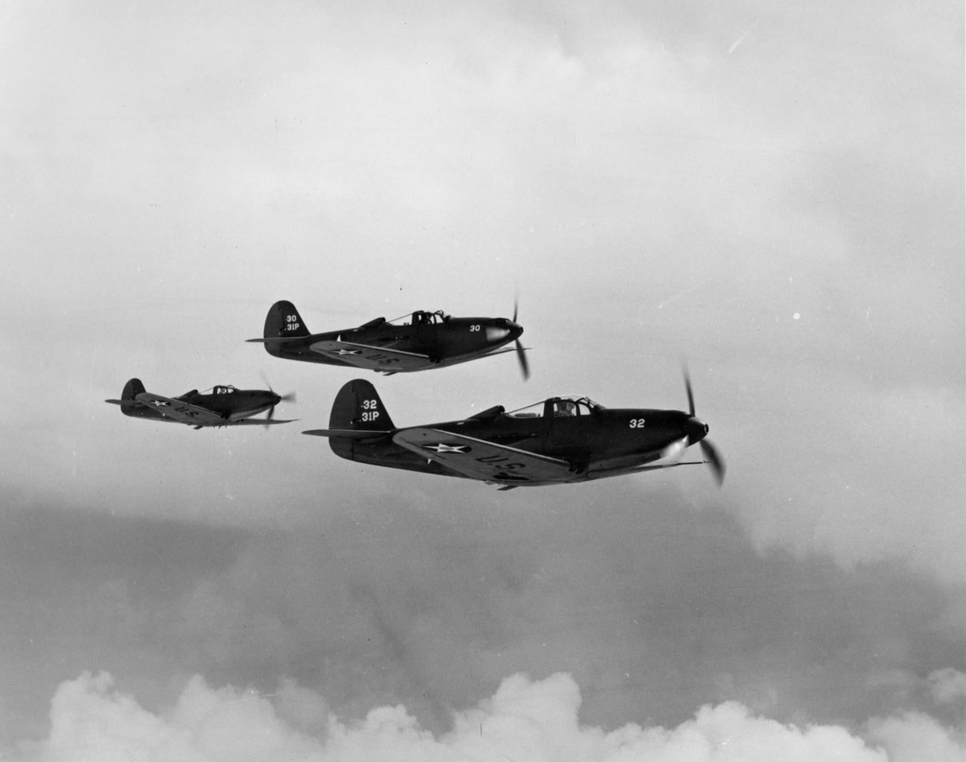 P-39 Airacobras in flight  P 39