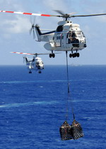 Two Puma helicopters carry supplies from the USNS Niagra Falls to the aircraft carrier USS Abraham Lincoln steaming in the Pacific Ocean on 5 April 2008. (USN/Mass Communication Specialist 3rd Class Geoffrey Lewis)