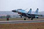 A Su-30MKI lands at Gwalior Air Force Station in India during exercise Cope India 04 (USAF Keith Brown)