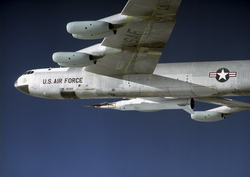 NASA's B-52 carries the X-43 on a captive flight on 26 January 2004 (Carla Thomas/NASA)