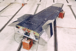 The X-43 undergoing ground testing in December 1999 (Tom Tschida/NASA)