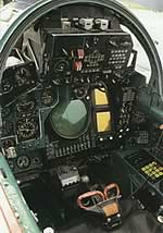The rear cockpit of the MiG-31 Foxhound
